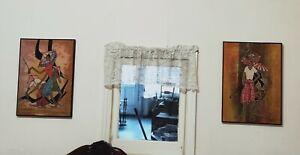 Original 1970s Silk Prints Artwork Set of 2 Rahmat Artwork
