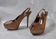 """Breckelles """"Vision"""" red sparkle hi-heel slingback sandal - Size 11 6"""" heel  -New"""