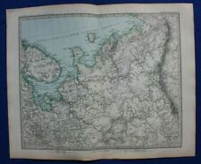 Original antique map NORTHERN RUSSIA, ARKHANGELSK, WHITE SEA, Stieler, 1891
