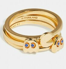 Coach X Pac-man Ghost 3 Stack Ring Set Gold-plated Brass Size 6 F73026