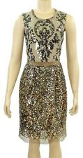 Elie Tahari Isla Gold Sequined Cocktail Dress Size 10 NWT $598