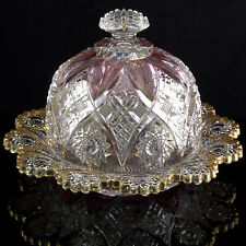 NORTHWOOD HOBSTAR Victorian Carnival EAPG GLASS BUTTER DISH Ruby Gold Pressed