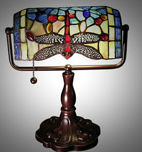 Blue Dragonfly Stained Glass Accent Desk Lamp ~ Hand Crafted Tiffany Style Decor