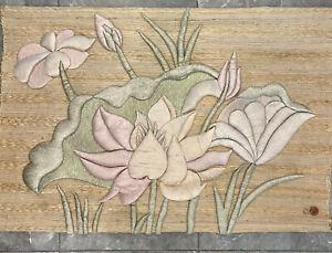 "Vtg 80s Don Freedman 54""x40"" Textile Fiber Wall Art Hanging Lotus Cactus Flower"