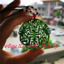 Chinese natural green black Jade Necklace Pendant Fashion Charm Jewelry Gifts