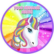 """A 7.5"""" Round Rainbow Unicorn Personalised Cake Topper ICING"""