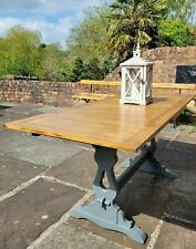 Vintage Oak Draw Leaf Extending Dining Table, Painted Little Green Paint Scree