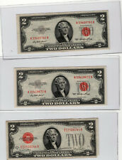5 $2 Red Jefferson +1 $1 Blue Seal Series 1935 G + 4 $1 Series 2009 21-24 serial