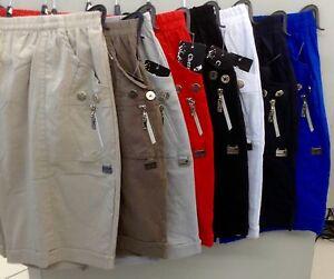 Damen Sommer  Schlupf Kurze Hose Shorts Stretch Caprihose Bermuda Hotpant Bequem