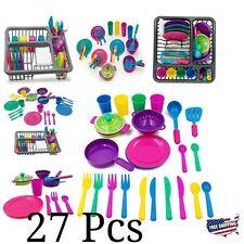 Pretend Play Kitchen Dishes Toy Children Plastic Accessories For Kids Set Girls