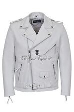 BRANDO Leather Jacket WHITE Biker Style 100% REAL HIDE LEATHER BIKER STRONG MBF