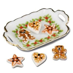 Dollhouse Christmas Cookie Tray Set 1.823/5 Reutter Holly Pattrn Miniature 2018