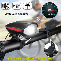 LED Bicycle Headlight Bike Head Light USB Rechargeable Front Lamp Cycling + Horn