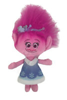 "Trolls Poppy Plush Stuffed Doll 7"" Dreamworks Big Pink Hair Soft Blue Dress Toy"