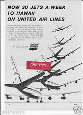 UNITED AIR LINES 1960 30 DC-8 JETS A WEEK TO HAWAII FROM SFO/LAX AD