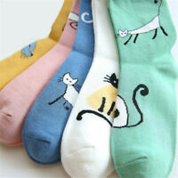 Women's Sock High Top Casual Lace Up Cat Pattern Fall Breatable Ankle Socks D