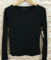 Coldwater Creek Black interlock tee shirt top womens small new long sleeve W3