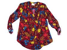 Anthropologie Maeve Red Floral Print Long Sleeve Flowy Button Down Top Size M