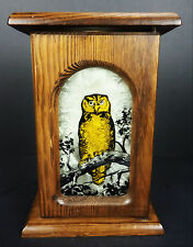 Wood Box Stained Glass Golden Owl Shelf Wall Sconce Candle Holder Mirror