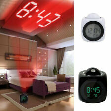 Alarm Clock Time Temperature Projector LED Digital Projection LCD Voice Talking
