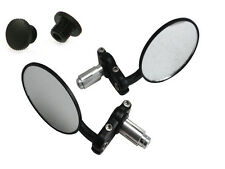 "PAIR Black Bar End Motorbike Mirrors & Blanking Plugs for 22mm 7/8"" Handlebars"