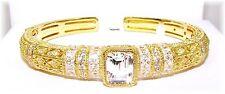 Judith Ripka 14K Clad 6.90ct Diamonique (Baguettte+Round) Cuff Bracelet (Small)
