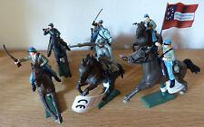 6 Britains Südstaatler zu Pferd, American Civil War Confederate mounted, 17827