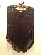 Talbots Party Dress Cape Shawl Knitted Black 100% Rayon Size S M Very Nice