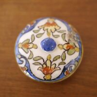 """Antique Quimper Rouen French Faience Pottery Floral Small Replacement Lid 2.25"""""""