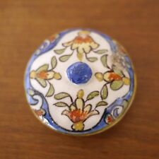 Antique Quimper Rouen French Faience Pottery Floral Small Replacement Lid 2.25""