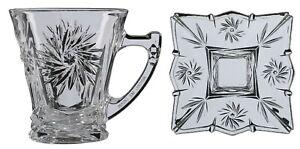 Silica Crystal Set of 6 Tea Glasses & 6 Crystal Plates Glass Tea Mugs Gift Box