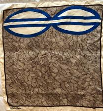 Vtg Bill Blass Abstract Brown Blue Cream Silk Scarf 22x23 Hand Rolled Hem Signed