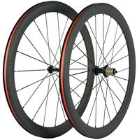 Carbonio Bicicletta Ruote 50mm Strada Bicicletta Anteriore Posteriore 700C Ruote