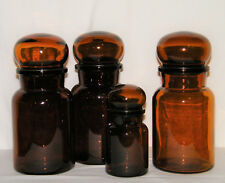 """Vtg Set (4) Amber BROWN GLASS APOTHECARY JARS """"MADE IN BELGIUM"""" 3 Large/1 Small"""