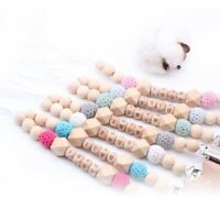 Star Beech Wood Pacifier Clip Personalised Name Baby Dummy Soother Chain Holder
