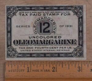 Mayfairstamps US Revenue 1931 Oleomargarine 1/4 Per Pound Stamp wwp93