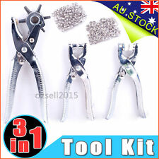 3pc Rotary Leather Hole Eyelet Snap Punch Pliers Grommet and Punches Tool Kit AU