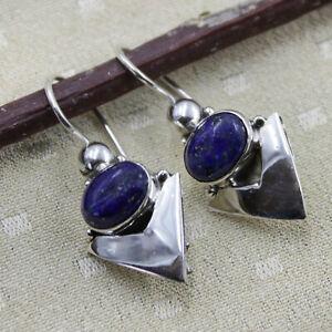 Lapis Lazuli Ohrhänger echt Silber 925 Ohrringe Sterlingsilber Blau  v1ts