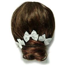 3 épingles pics à cheveux chignon mariage mariée noeud papillon satin blanc