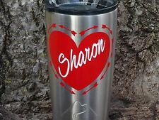 Custom Monogram Heart Vinyl Decal for Stainless Tumblers, Coffee Travel Cups
