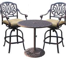 3-piece cast aluminum patio bistro set Elisabeth bar stools Nassau table