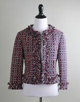 SARA CAMPBELL $168 Fringy Fringe Tweed Subtle Sparkle Lined Jacket Top Size 2