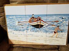 Pescadores Portugal Ceramic Tile Kitchen Backsplash Fishermen -Signed
