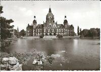 """Ansichtskarte Hannover """"Neues Rathaus mit Park und See"""" - schwarz/weiß"""