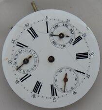Double Date Pocket Watch movement & enamel dial 41,5 mm. in diameter