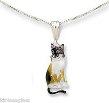 "Plated Enamel 18"" Chain - Box Zarah Zarlite Snowshoe Siamese Cat Necklace Silver"