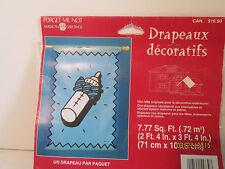 "Blue Baby Bottle Decorative Flag NIP American Greetings 2'4"" x 3'4"""