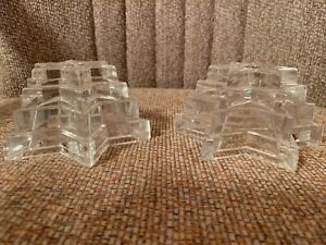 Multi Tiered Star of David Lead Crystal Candlestick Holder Set of 2 Brand New