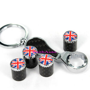 England Britain UK Anti-Theft Union Jack Wrench Keychain Tire Valve Stem Caps