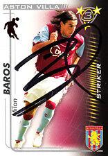 Aston Villa F,C Milan Baros Hand 05/06 Premiership Shoot Out Signed Card.